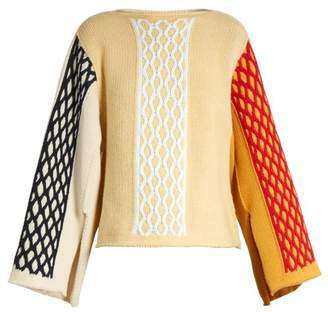 Jw Anderson - Slit Sleeve Cable Knit Wool Blend Sweater - Womens - Yellow Multi