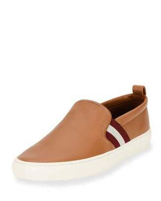Bally Herald Leather Slip-On Sneaker, Cuir/White $395 thestylecure.com