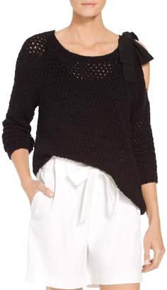St. John Criss-Cross Open Stitch Knit Sweater