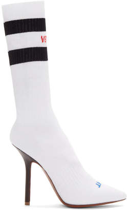 White Logo and Stripes Sock Boots