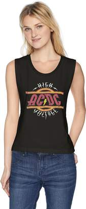 N. Ac/Dc ACDC Women's High Voltage Rock Roll Logo Raw Graphic Muscle Tank