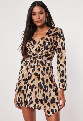 Missguided Brown Satin Leopard Twist Mini Dress