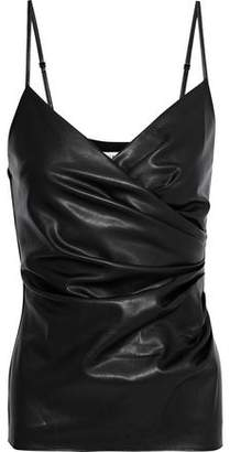 Bailey 44 Spectrals Wrap-effect Faux Leather And Jersey Camisole