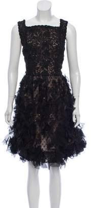 Oscar de la Renta Embellished Knee-Length Dress