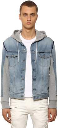 Balmain Hooded Cotton Denim & Jersey Jacket