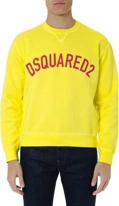 DSQUARED2 Yellow Cotton Sweatshirt With Logo