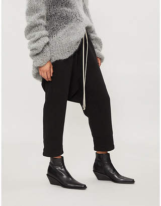 Drkshdw Dropped-crotch high-rise straight cotton-jersey cropped trousers