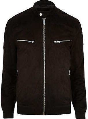 Mens Big and Tall Black faux suede racer jacket