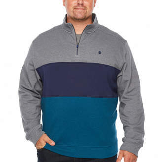Izod Advantage Performance Color Blocked 1/4 Zip Fleece Mens Long Sleeve Sweatshirt Big and Tall