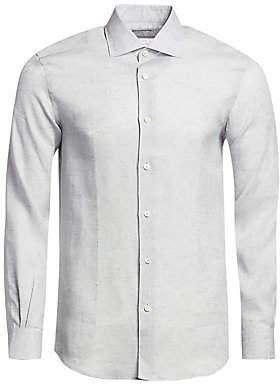 Ermenegildo Zegna Men's Linen Long-Sleeve Shirt