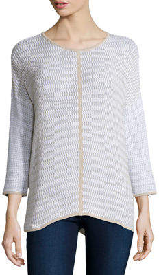 Neiman Marcus Belford Long-Sleeve Oversized Pullover W/ Trim