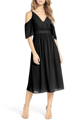 Women's Charles Henry Cold Shoulder Midi Dress $99 thestylecure.com