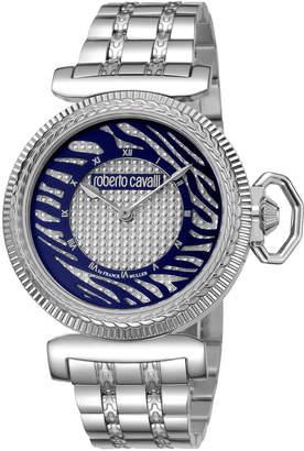 Roberto Cavalli By Franck Muller 38mm Zebra Bracelet Watch, Blue/Silver