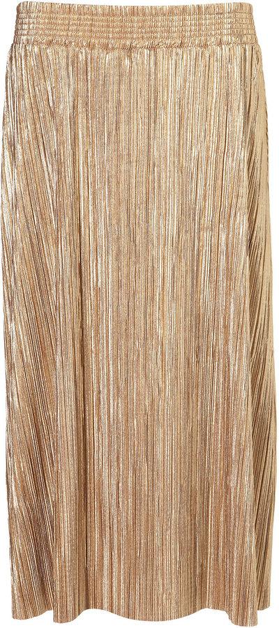 Tall Metallic Pleat Midi Skirt
