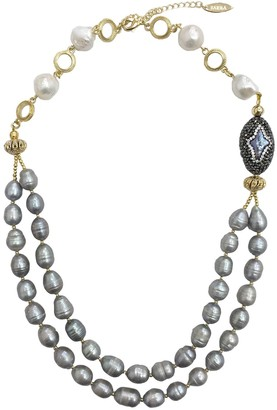 Farra Freshwater Pearls With Rhinestones Double Strands Necklace