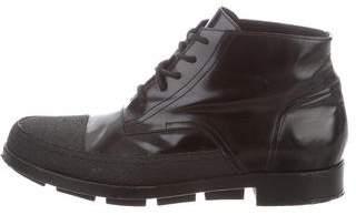 Balenciaga Leather Cap-Toe Chukka Boots