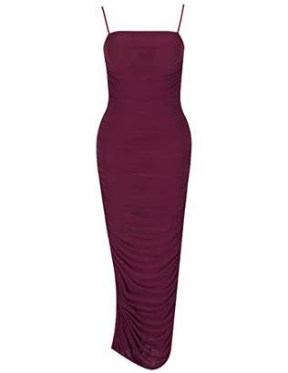 Deer Lady Womens Spaghetti Strap Bodycon Evening Party Long Tight Dress with Slit XL