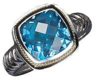 Effy Balissima Sterling Silver and 18 K Yellow Gold Blue Topaz Ring