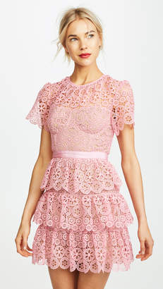 Self-Portrait Self Portrait Tiered Lace Mini Dress