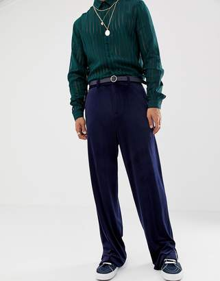Asos DESIGN slouchy suit pants in navy velvet