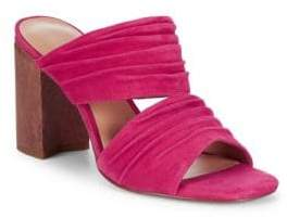 Halston Block Heel Leather Mule Sandals