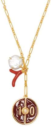 Lizzie Fortunato Fortune 10 Pendant Charm Necklace - Womens - Red