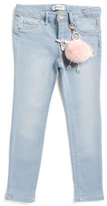 Little Girls Skinny Knit Jeans With Unicorn Pom Key Chain