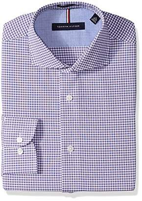 Tommy Hilfiger Men's Dress Shirts Non Iron Slim Fit Check Spread Collar