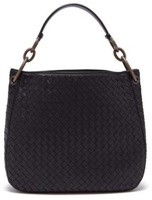 Bottega Veneta Loop Small Intrecciato Leather Shoulder Bag - Womens - Black