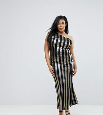 John Zack Plus One Shoulder Contrast Stripe Maxi Dress (+)