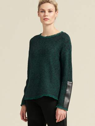 DKNY Textured Pullover With Faux-Leather Sleeve