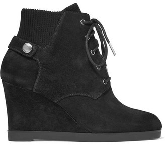 MICHAEL Michael Kors - Carrigan Suede Wedge Ankle Boots - Black $225 thestylecure.com