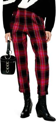 Topshop Martha Check Peg Leg Trousers