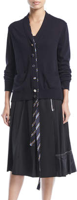 Marc Jacobs V-Neck Button-Front Wool Cardigan with Tie Placket