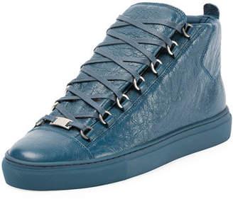 Balenciaga Men's Arena Leather Mid-Top Sneakers