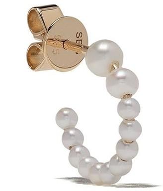 Sophie Bille Brahe 14kt yellow gold freshwater pearl hoop earring