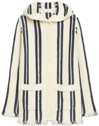 Tory Burch STRIPED SWEATERCOAT