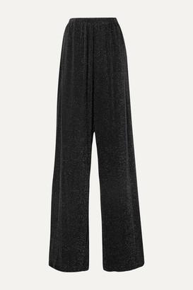 Balenciaga Metallic Stretch-jersey Wide-leg Pants - Black