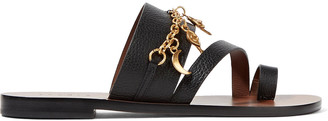 Sandro Chain-embellished textured-leather sandals $325 thestylecure.com