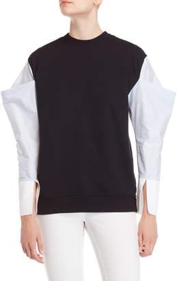 Clu Navy Pinstripe Sleeve Sweatshirt