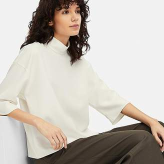 Uniqlo Women's Drape Mock Neck 3/4 Sleeve Blouse