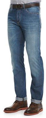 Brunello Cucinelli Lightweight Medium Wash Jeans, Indigo $595 thestylecure.com