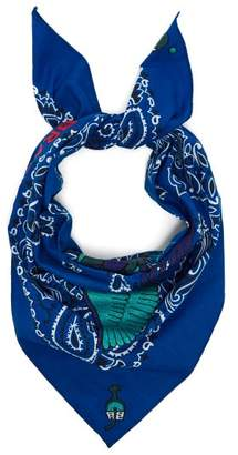 Kilometre Paris - Brazil Embroidered Cotton Bandana Scarf - Womens - Blue