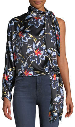 Diane von Furstenberg One-Shoulder Silk Floral Knotted Blouse