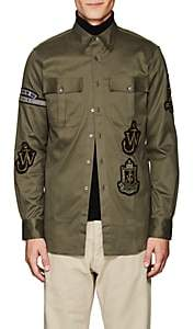 J.W.Anderson Men's Appliquéd Cotton Shirt Jacket - Olive