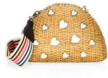 Edie Parker Wicker Heart Shoulder Clutch Bag