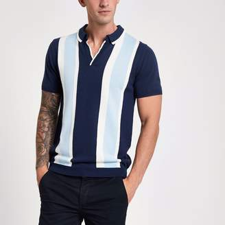 River Island Mens Blue stripe slim fit revere knit polo shirt