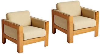 Rejuvenation Pair of Modern Cube Lounge Chairs Mfg by Magnus Olesen