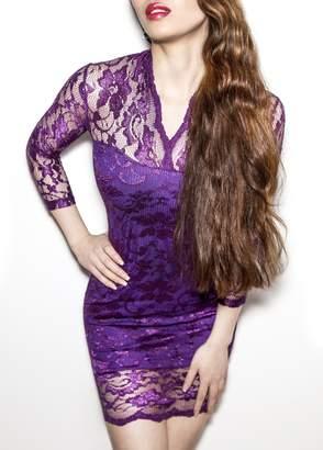 SODACODA Women's Lace Short Dress - 3/4 Sleeve Slim-Fit - V-neck - (, M)