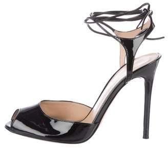 Gianvito Rossi Patent Leather Peep-Toe Sandals